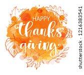happy thanksgiving banner or... | Shutterstock .eps vector #1216383541