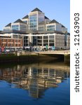 Dublin financial cityscape by the river Liffey. - stock photo