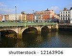 Grattan bridge over the river Liffey in Dublin, Ireland. - stock photo