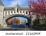 Dublin cityscape, part of the Christ Church Cathedral on the first plan. - stock photo