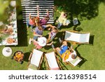 top view on group of people... | Shutterstock . vector #1216398514