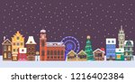 winter christmas city panorama. ... | Shutterstock .eps vector #1216402384