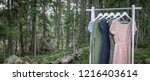 clothes hanger with dresses in... | Shutterstock . vector #1216403614
