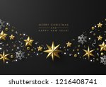 christmas and new year greeting ... | Shutterstock .eps vector #1216408741