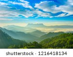landscape of sunrise on... | Shutterstock . vector #1216418134