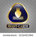 gold shiny badge with ship... | Shutterstock .eps vector #1216421584