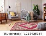 rustic rug in stylish baby... | Shutterstock . vector #1216425364