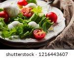 fresh healthy salad witn... | Shutterstock . vector #1216443607
