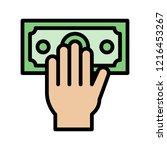 hand grab dollar bill money... | Shutterstock .eps vector #1216453267