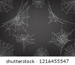black spiders and different web ... | Shutterstock .eps vector #1216455547