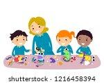illustration of stickman kids...   Shutterstock .eps vector #1216458394
