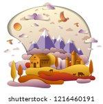 farm in scenic autumn landscape ...   Shutterstock .eps vector #1216460191