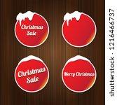 christmas vector red glossy... | Shutterstock .eps vector #1216466737