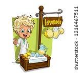 cartoon smiling blonde boy... | Shutterstock .eps vector #1216467511