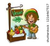cartoon happy rastaman with... | Shutterstock .eps vector #1216467517