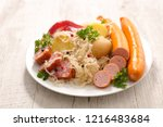 sauerkraut with potato and...   Shutterstock . vector #1216483684