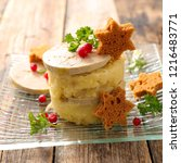 mashed potato with foie gras | Shutterstock . vector #1216483771