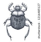 sacred beetle of scarabs tattoo ... | Shutterstock .eps vector #1216485127