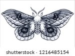 hand drawn butterfly tattoo.... | Shutterstock .eps vector #1216485154