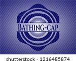 bathing cap emblem with denim...   Shutterstock .eps vector #1216485874