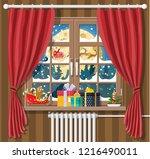 santa claus and his reindeer in ... | Shutterstock .eps vector #1216490011