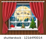 santa claus and his reindeer in ... | Shutterstock .eps vector #1216490014