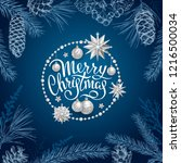 merry christmas card with... | Shutterstock .eps vector #1216500034