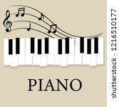 music piano keyboard with notes.... | Shutterstock .eps vector #1216510177