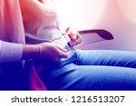women passenger fastening seat... | Shutterstock . vector #1216513207