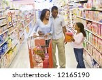 young family grocery shopping... | Shutterstock . vector #12165190