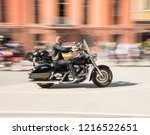 biker riding motorcycle at... | Shutterstock . vector #1216522651