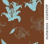 vector seamless pattern lilies... | Shutterstock .eps vector #121654159