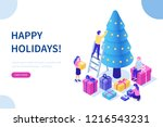 happy business people decorate... | Shutterstock .eps vector #1216543231