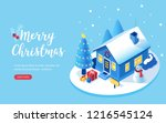 christmas house  tree and gift... | Shutterstock .eps vector #1216545124