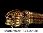 ribbon and cone on a black... | Shutterstock . vector #121654801