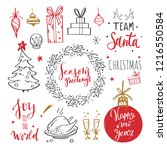 merry christmas and new year... | Shutterstock .eps vector #1216550584