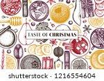 merry christmas design. hot... | Shutterstock .eps vector #1216554604