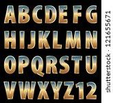 vector 3d golden alphabet with... | Shutterstock .eps vector #121655671