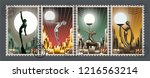 art deco style retro postage... | Shutterstock .eps vector #1216563214