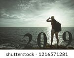 new year 2019 concept... | Shutterstock . vector #1216571281