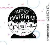 merry christmas. typography.... | Shutterstock .eps vector #1216576171
