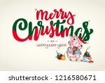happy new year and merry... | Shutterstock .eps vector #1216580671