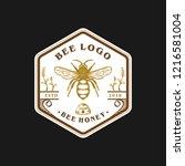 vintage bee logo design | Shutterstock .eps vector #1216581004
