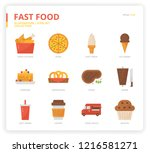 fast food icon set | Shutterstock .eps vector #1216581271