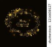 gold glitter snowflake frame ... | Shutterstock .eps vector #1216608127