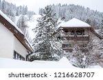 winter in schwarzwald.wooden...   Shutterstock . vector #1216628707