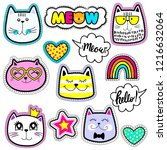 set of cute stickers and... | Shutterstock .eps vector #1216632064