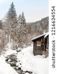 winter in schwarzwald. wooden...   Shutterstock . vector #1216634554