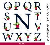 set of floral alphabet   navy... | Shutterstock .eps vector #1216637254