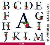 set of floral alphabet   navy... | Shutterstock .eps vector #1216637257